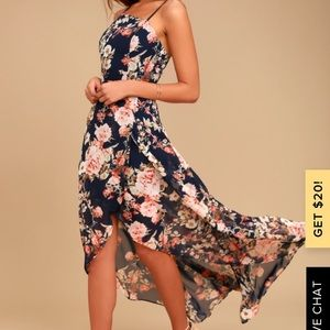 Lulus floral navy high low dress